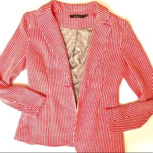 Ark & Co. red & white cotton blazer. Size Small.